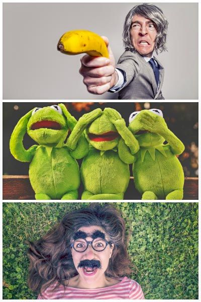 Man having fun with a banana, three frogs pretending see no evil, speak no evil, hear no evil, and a woman having fun wearing funny glasses.